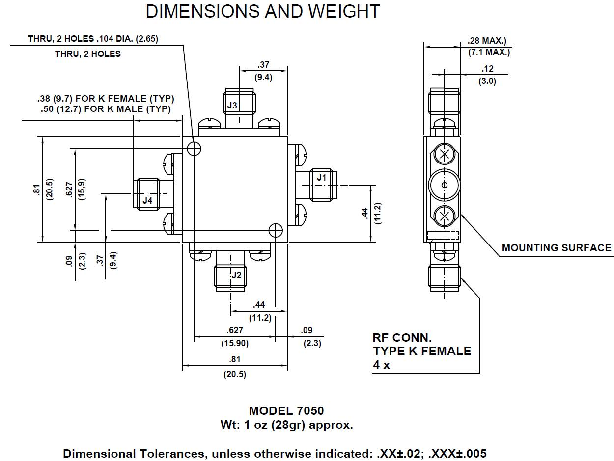 Model 7050 Quadrature Coupler dimensions and weight